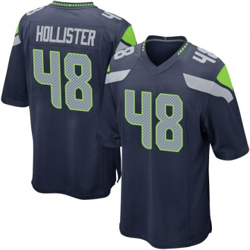 Men's Jacob Hollister Seattle Seahawks Game Navy Team Color Jersey